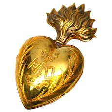 Rare Nineteenth Century French Vermeil Sacred Heart Ex Voto Reliquary