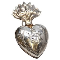 TINY Antique Nineteenth Century French Silver Sacred Heart Ex Voto Reliquary