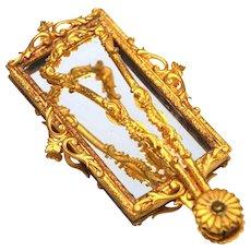 RARE Antique Nineteenth Century Gilded Brass Miror Pliant/Folding Hand Mirror