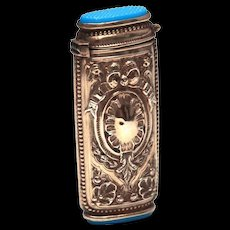 Antique Nineteenth Century French Silver and Blue Opaline Porte Allumette