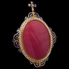 Antique Nineteenth Century Devotional Gilded Brass Frame with Bezel Set Glass Stones