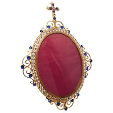 Antique Nineteenth Century Devotional Gilded Brass Frame with Bezel Set Glass Stones