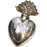 Rare Antique Nineteenth Century French Silverplate Sacred Heart Ex Voto from Altarpiece