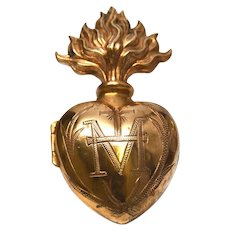 Antique Nineteenth Century Gilded Brass French Sacred Heart Ex Voto