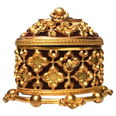 Antique Nineteenth Century Napoleon III French Gilded Bronze Coffre a Bijoux Box