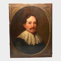 Antique Nineteenth Century Portrait Painted on Wooden Panel