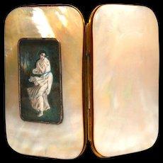 Antique Nineteenth Century Mother of Pearl Eglomise Porte Monnaie