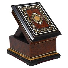Antique Napoleon III Era Burl Wood Maple and Inlay Porte Montre Watch Holder Presentation Box