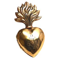 RARE TINY French Gilded Brass Sacred Heart Ex Voto Reliquary
