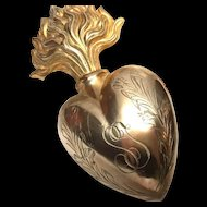 Exceptional Large Antique Nineteenth Century French Gilded Brass Sacred Flaming Heart