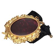 Antique Epoque Napoleon III Gilded Bronze Hanging Picture Frame with Domed Glass