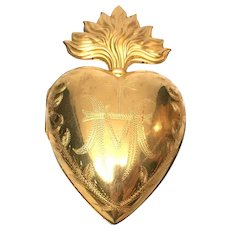 Exceptional Large French Extravagantly Gilded Sacred Heart Flaming Heart Ex Voto