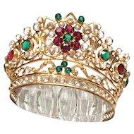 Antique Nineteenth Century French Gilded Brass Bronze Santos Madonna Diadem Crown