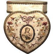 Antique Nineteenth Century French Silk and Ribbon Embroidery Box with Lithograph Medallion