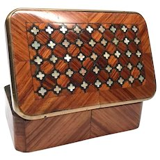 Antique Nineteenth Century French Rosewood Stamp Box with Mother of Pearl Inlay