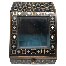 Antique French Napoleon III Era Brass and Mother of Pearl Inlay Porte Montre Watch Holder