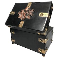 Large Napoleon III Era Antique French Black Lacquer Coffre/Box with Copper and Brass Mounted Ormolu