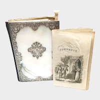 Fine Antique Nineteenth Century Mother of Pearl Carnet de Bal with Silver Cisele Framework