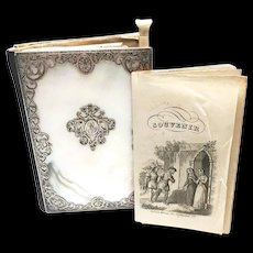 Fine Antique Nineteenth Century Mother of Pearl Carnet de Bal with Silver Cisele Framework