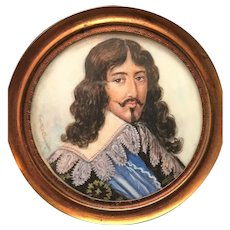 Antique Nineteenth Century Hand Painted (on celluloid) Framed Portrait French King Louis III
