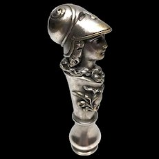 RARE Antique Nineteenth Century Cast Pewter over Bronze Figural Sceau or Seal