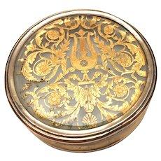 Rare Antique French Charles X Era Vermeil Glass Snuff Box
