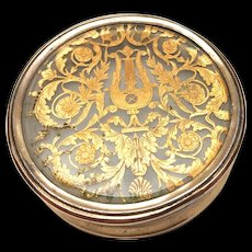 Rare Antique French Charles X Era Vermeil Glass Snuff Box