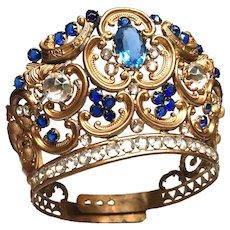 Antique Napoleon III Era French Gilded Santos Madonna Diadem Religious Crown