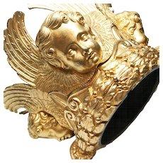 RARE Exquisite Antique French Gilded Cast Bronze Religious Cherubim Corona
