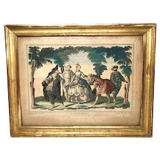 Rare Antique French Framed Eighteenth Century Copperplate Hand Colored Engraving by Engelbrecht  : La Comedie Italienne