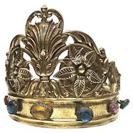 Antique Nineteenth Century French Gilded Brass Diadem Crown With Large Glass Stone Mounts
