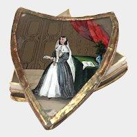 Rare Shield Shape Antique Eglomise Bonbonnière, Fixe Sous Verre