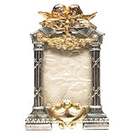 RARE Miniature Antique Silver and Gilded Standing Picture Frame