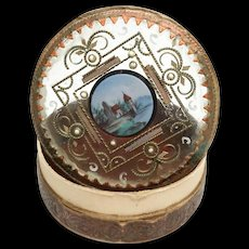 Antique Charles X Era Fixe Sur Verre Boite Dragees with Painted Enamel Medallion
