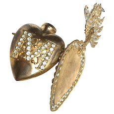 Precious Large Antique Nineteenth Century Gilded Brass Sacred Heart Ex Voto Reliquaire