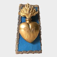 Antique 19th Century French Gilded Bronze Sacred Heart Ex Voto with Socle