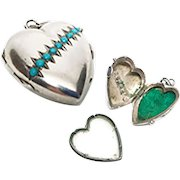 RARE Convent Antique Nineteenth Century Silver Sacred Heart Reliquary Ex Voto with Turquoise Stones