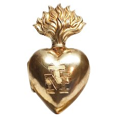 TINY Antique 19th Century French Gilded Brass Sacred Heart Ex Voto Reliquaire