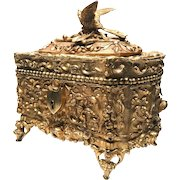 Antique 19th Century French Gilded Cast Bronze Figural Box
