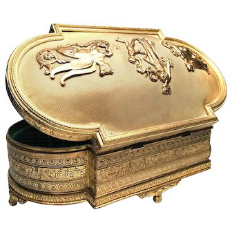 Fine Antique French Napoleon III Gilded Bronze Box with Figural Mounts