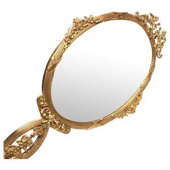 LARGE Antique Napoleon III Era Gilded Bronze Hand Mirror