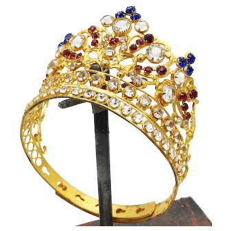 Sumptuous Antique Nineteenth Century Gilded Brass Santos Diadem Crown with Glass Stones