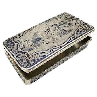Fine Antique Nineteenth Century French Silver Neillo Snuff Tobacco Box