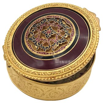 Antique French Gilded Bronze Guilloche Enamel Box w/Cisele Medallion