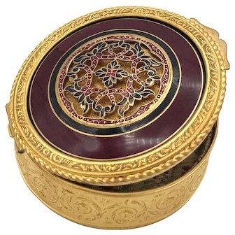 Antique French Gilded Bronze Guilloche Enamel Box w/Cisele Medallion