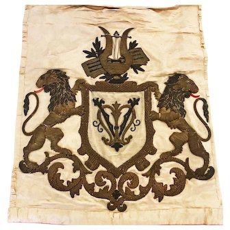 Antique Eighteenth Century Silk and Metalwork Embroidery Armorial Textile