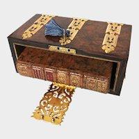 RARE Antique Napoleon III Bird's Eye Maple French Bibliotheque Box with Gilded Brass Ormolu