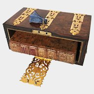RARE Antique Napoleon III Bird's Eye Maple French Bibliotheque Box with Gilded Brass Ormolu