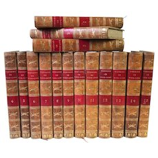 Antique 19th Century 15 Volume Series French Leatherbound Books Histoire Romain