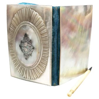 Antique 19th Century French Mother of Pearl and Silver Carnet de Bal